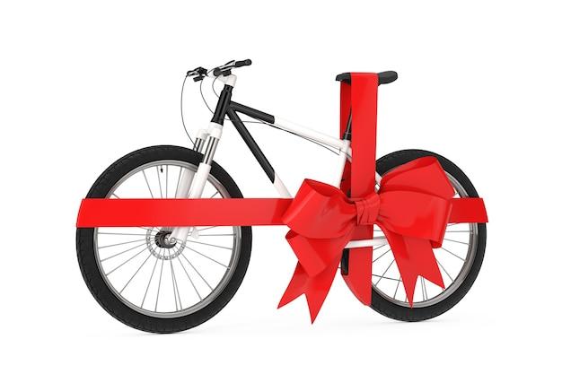 Vélo de montagne noir et blanc avec ruban rouge comme cadeau sur fond blanc. rendu 3d
