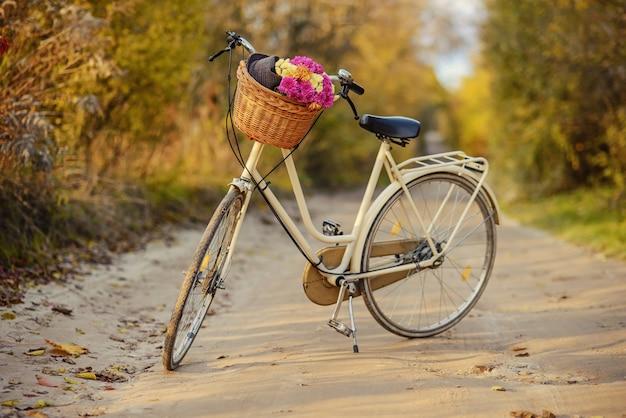 Vélo avec un panier rempli de fleurs des champs
