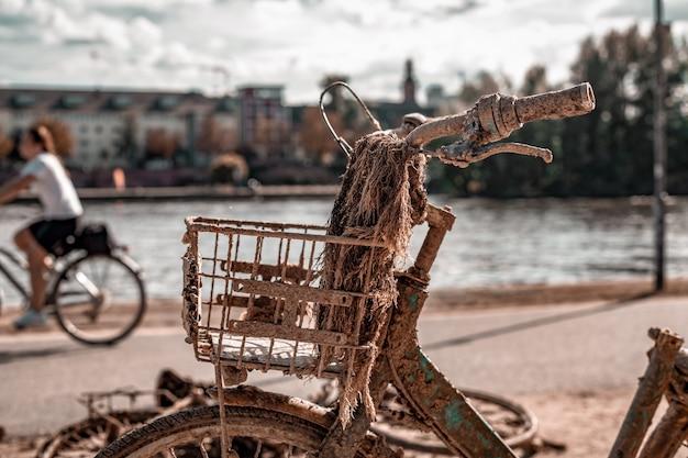 Vélo rouillé sorti d'une rivière dans un parc de la ville.