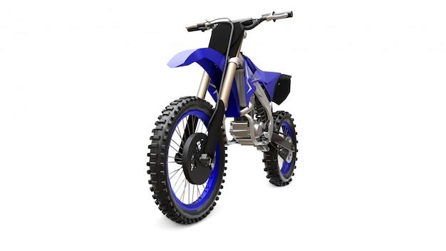 Vélo de sport bleu et noir pour le cross-country sur blanc