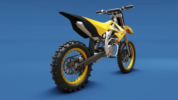 Vélo de sport jaune pour le cross-country sur une surface bleue