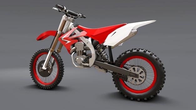Vélo de sport rouge et blanc pour le cross-country sur gris