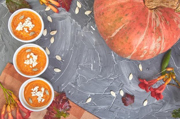 Velouté de potiron ou soufflé. jour de thanksgiving.