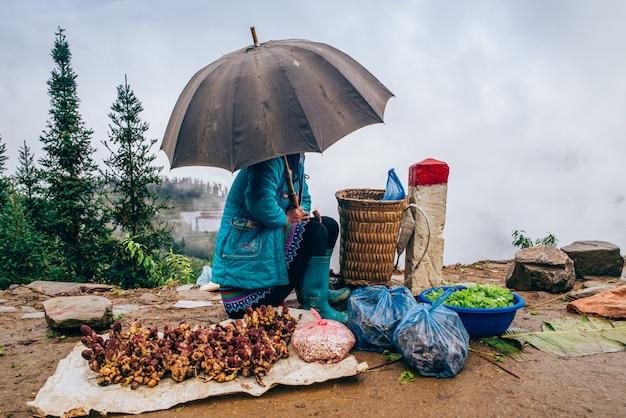 Vendeur ambulant à sapa, vietnam