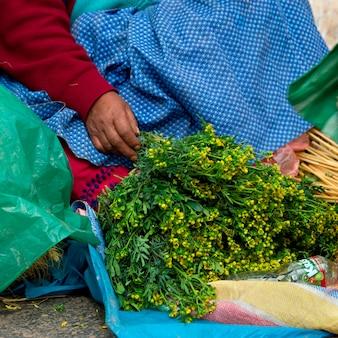 Vendeur vendant des herbes dans un étal de marché, vallée sacrée, région de cuzco, pérou