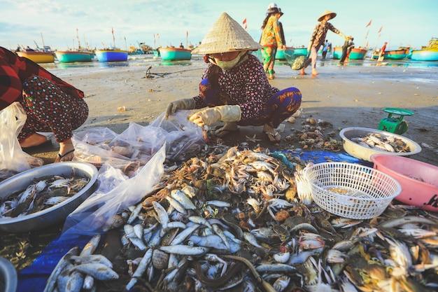 Les vendeurs locaux ramassent des poissons et des shelles dans le célèbre village de pêcheurs de mui ne, vietnam