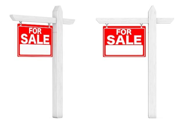 À vendre signes immobiliers sur fond blanc. rendu 3d