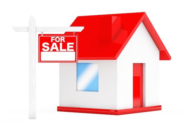 À vendre signes immobiliers avec maison simple sur fond blanc. rendu 3d