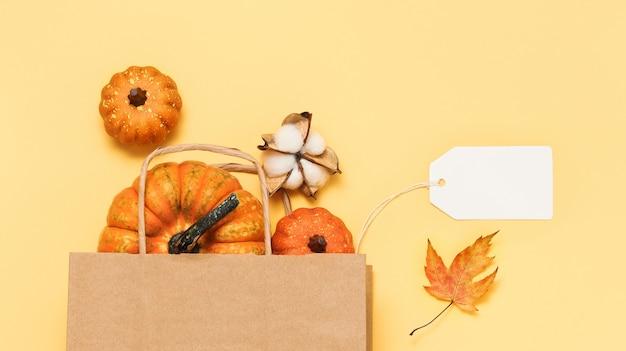 Vente d'automne avec étiquette et citrouilles