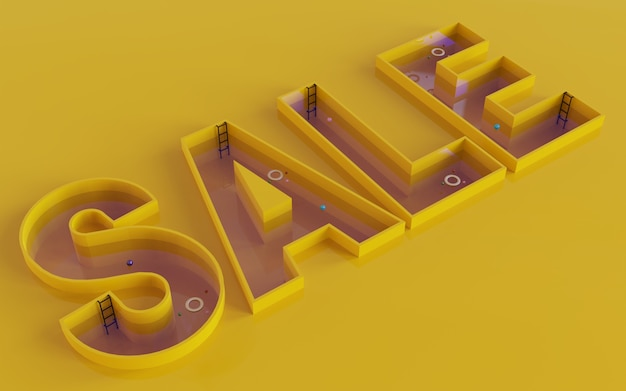 Vente design fond illustration marketing promotion événement boutique rendu 3d avec piscine