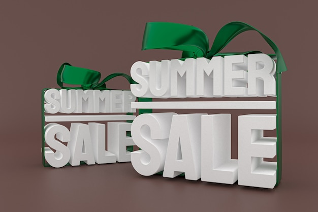 Vente d'été avec arc et ruban fond de rendu de conception 3d