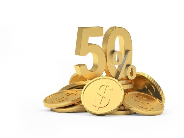 Vente d'or cinquante pour cent de réduction sur la pile de pièces en dollars
