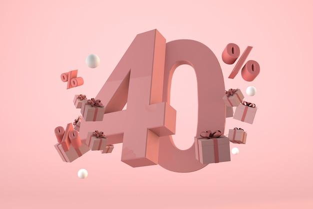 Vente rose 40% de réduction, promotion et célébration avec coffrets cadeaux et pourcentage. rendu 3d