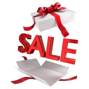 Vente. vente dans une boîte cadeau blanche avec symboles rouges et ruban. bannière promotionnelle pour une vente de vacances de grand magasin. rendu 3d. isolé sur fond blanc.