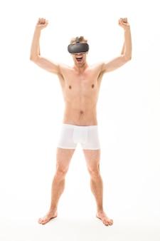 Ventes de publicité de réalité virtuelle et homme nu à prix réduit en sous-vêtements pour hommes de casque de réalité virtuelle