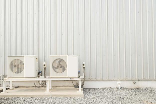 Ventilateur de climatiseur et fond de texture de plaque en acier de mur en métal