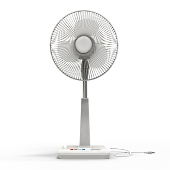 Ventilateur électrique blanc. modèle tridimensionnel sur fond blanc
