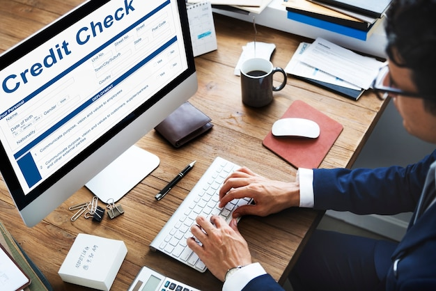 Vérification de crédit concept de formulaire de demande de comptabilité financière