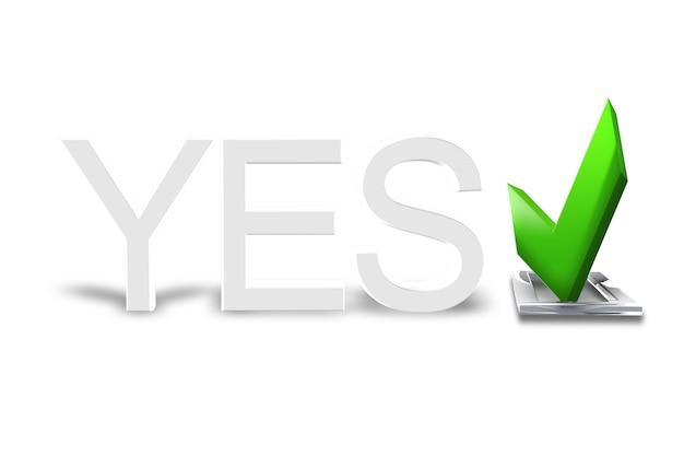 Vérifiez l'icône verte symbole positif et le texte oui isolé sur fond blanc