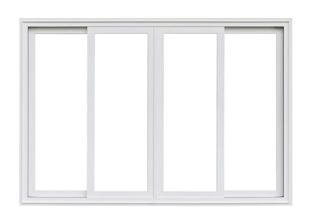 Véritable cadre de fenêtre de maison moderne isolé sur fond blanc