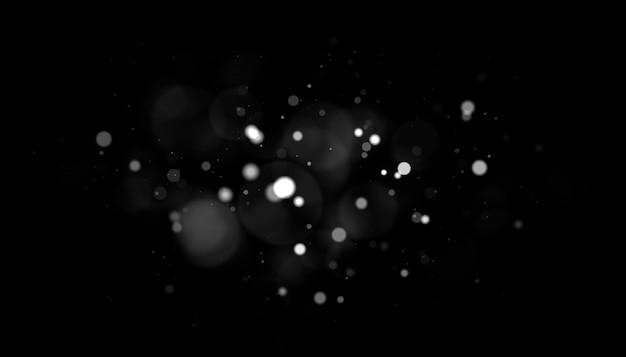 Véritables particules de poussière argentées rétro-éclairées avec une véritable lumière parasite