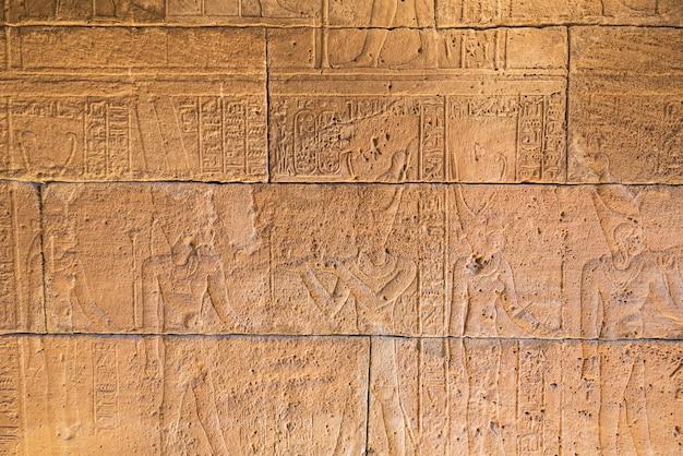 Véritables sculptures hiéroglyphiques sur les murs d'un ancien temple égyptien.