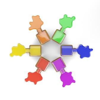 Vernis à ongles formant un cercle chromatique isolé sur blanc.