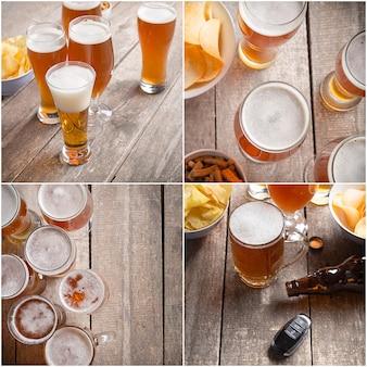 Verre à bière et des collations