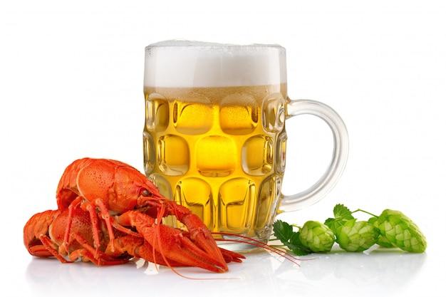 Verre de bière avec des écrevisses bouillies et du houblon vert