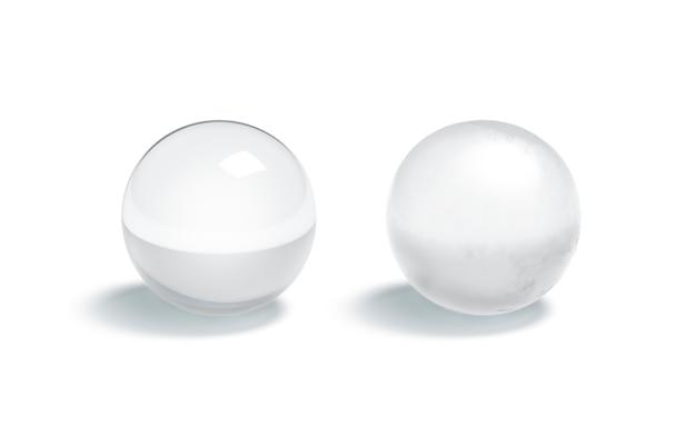 Verre blanc brillant et jeu de boule mate, rendu 3d. modèle de figure transparent et mat vide, isolé. forme géométrique circulaire transparente givrée et en verre