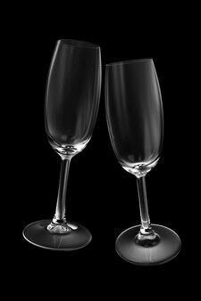 Verre à champagne vide isolé