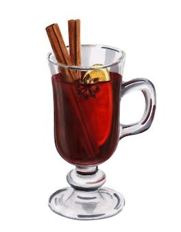 Verre dessiné à la main avec du vin chaud isolé sur fond blanc. illustration de boisson de noël maison
