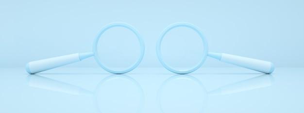 Verre de deux loupes sur fond bleu, symboles de recherche, rendu 3d, image panoramique