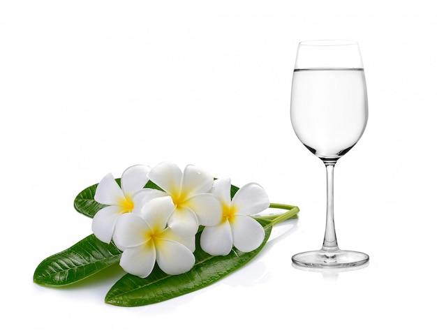 Verre d'eau et frangipanier fleurs tropicales (plumeria)