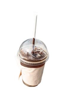 Verre de glace americano wrap avec du papier de soie isolé sur fond