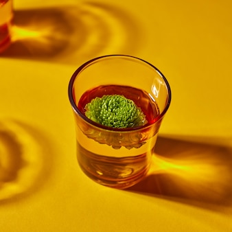 Verre jaune avec de belles ombres profondes avec de l'eau et une fleur de bourgeon vert sur fond orange