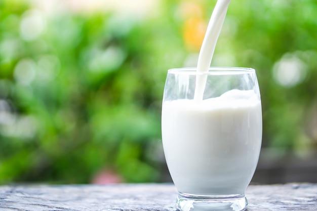 Verre de lait sur fond nature matin