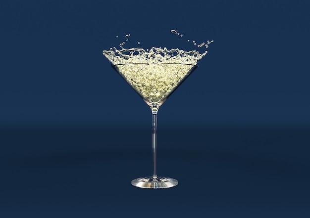 Verre à martini avec gouttes d'eau. sur fond bleu foncé. rendu 3d