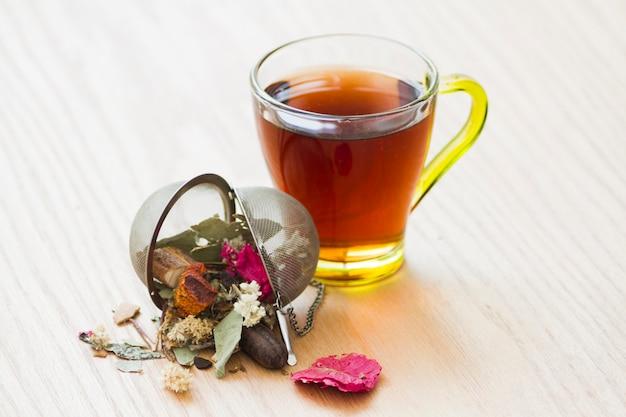 Verre de thé avec des feuilles