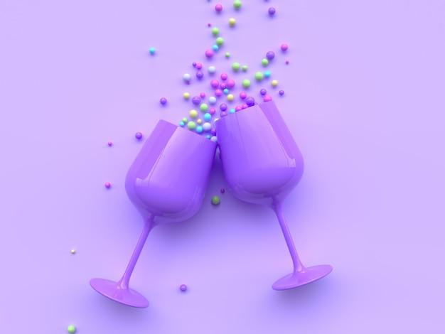 Verre à vin abstrait coloré beaucoup balle rendu 3d