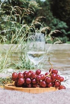 Verre à vin blanc avec raisin sur la côte