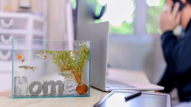 Verrouillage et auto-quarantaine. travaillez à la maison avec du poisson dans l'aquarium. loisirs pendant la crise du virus corona. restez à la maison pour la détente et la distanciation sociale.