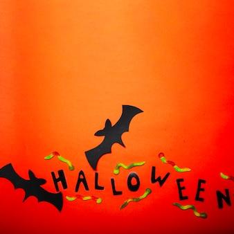 Les vers gommeux et les chauves-souris décoratifs de halloween