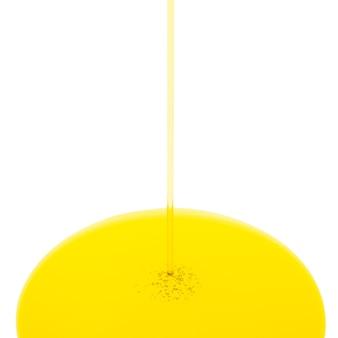 Verser le débit d'huile isolé sur blanc. caniche de cercle. format carré.