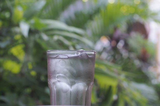 Verser de l'eau dans un verre sur le fond de la nature