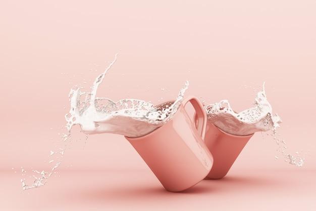 Verser le lait dans une tasse de lait éclaboussant dans une tasse rose rendu 3d