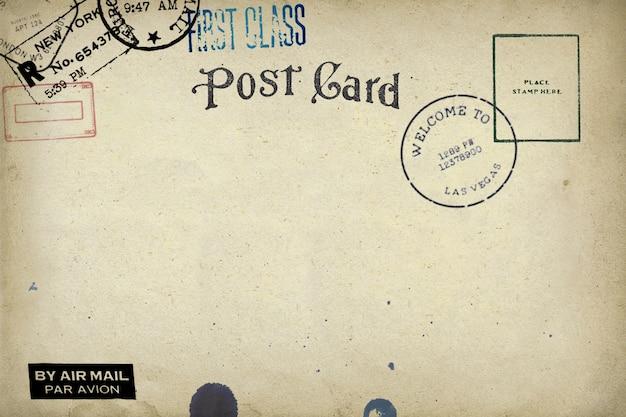 Verso d'une carte postale vierge avec une tache sale