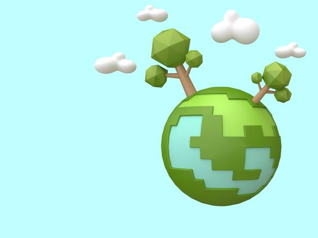 Vert terre-arbres low poly style de bande dessinée rendu 3d concept d'écologie environnement