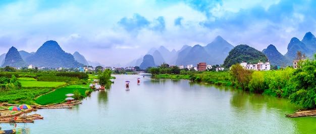 Vert vert montagne bleu campagne asiatique