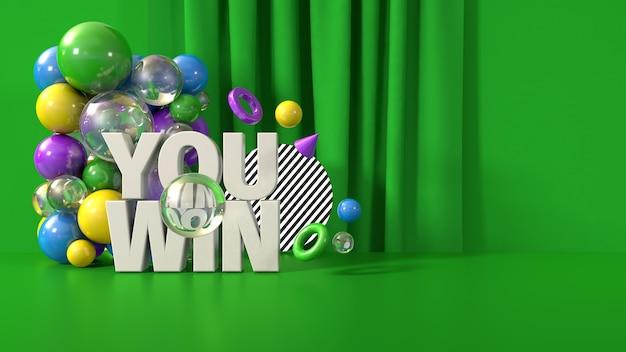 Vert vous gagnez le modèle de bannière, rendu 3d